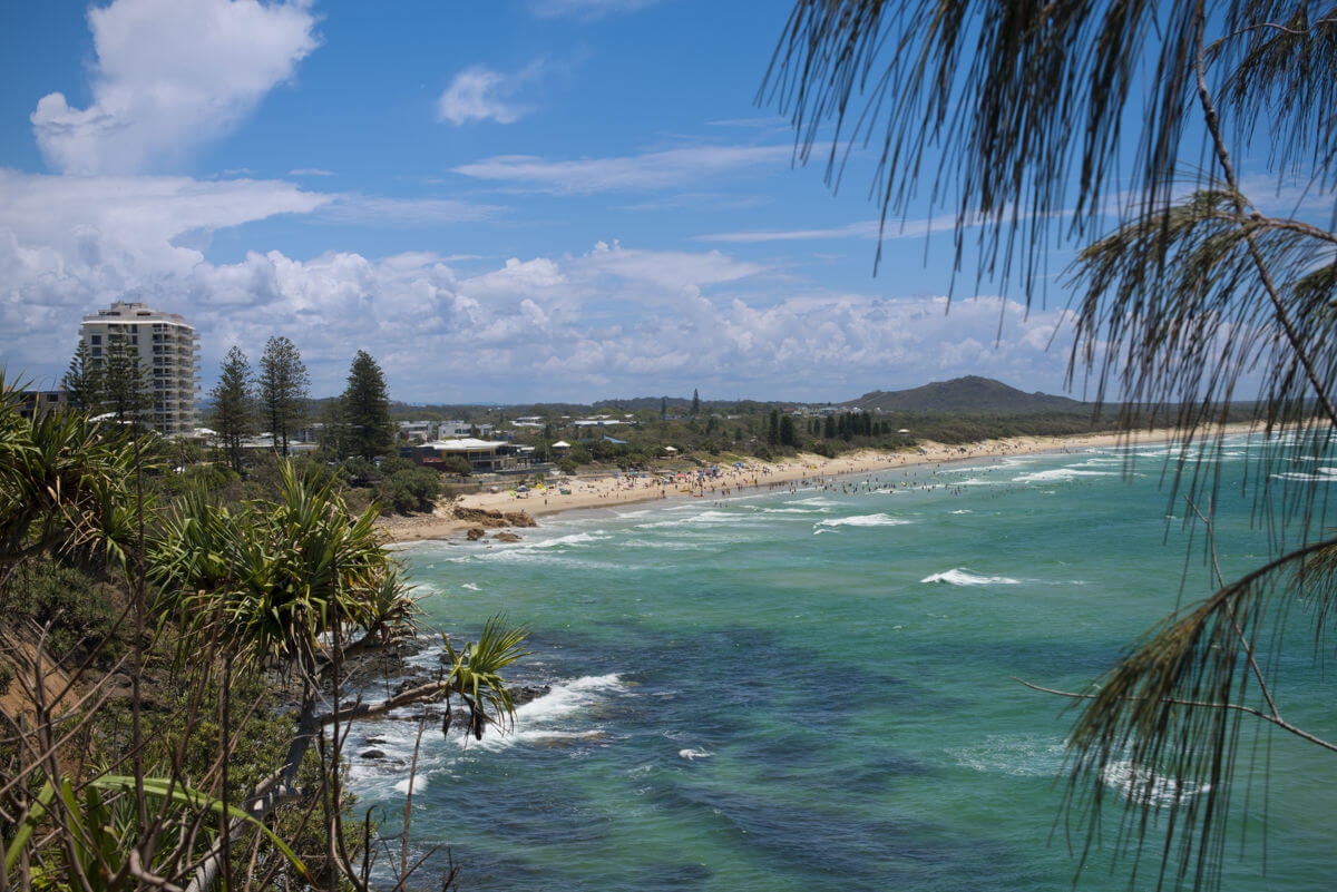 Looking back at Coolum from distance