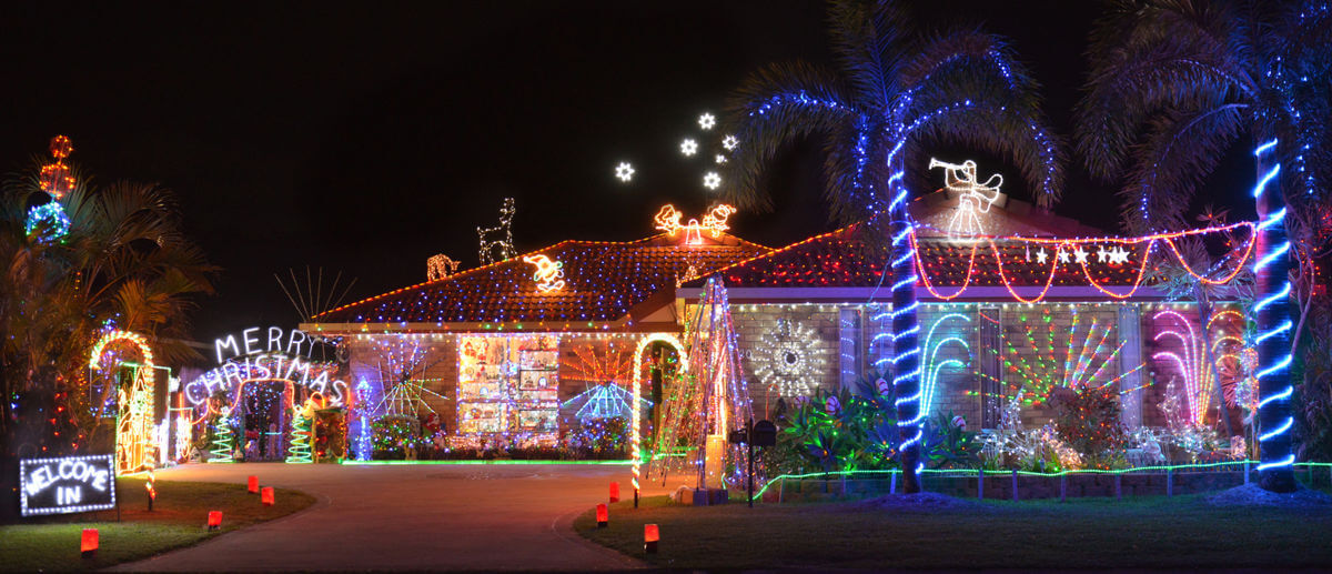 Photo of excessive XMAS lights on a house