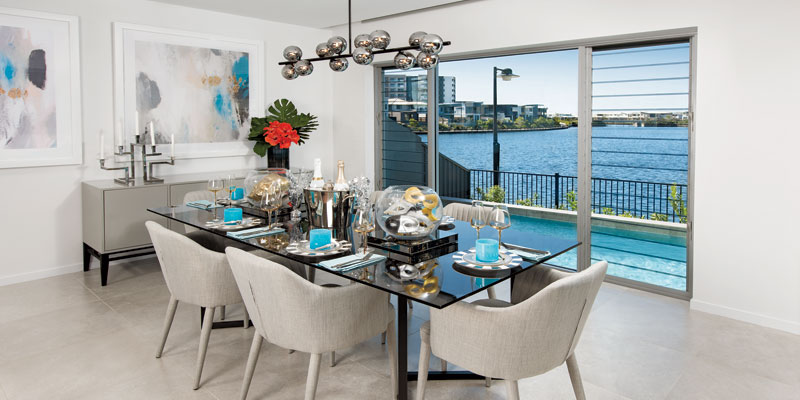 Photo of Sunshine Coast prize home dining room looking out over water