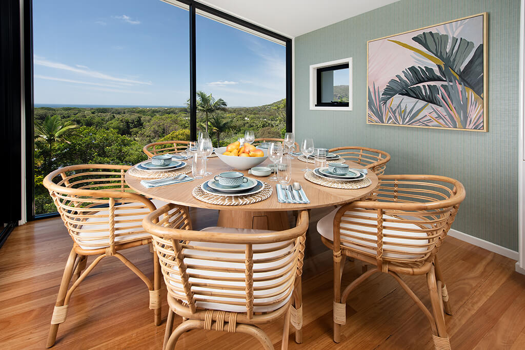 Image of dining room looking out to the view of Endeavour Prize Home 420 Yaroomba Sunshine Coast