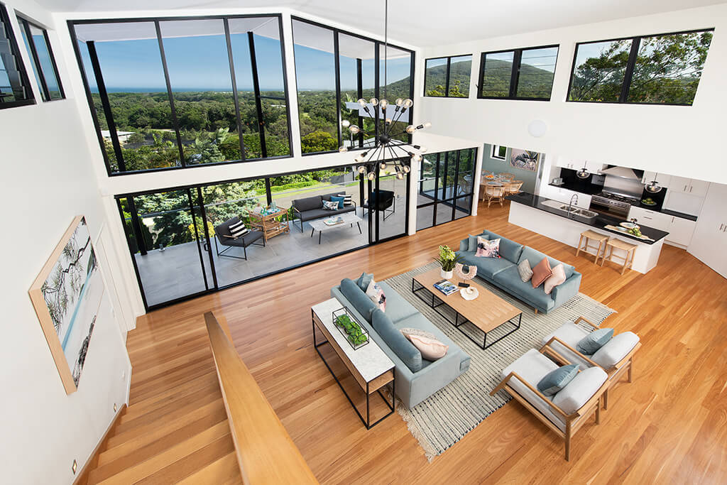 Image of living area looking out to view Endeavour Prize Home Sunshine Coast