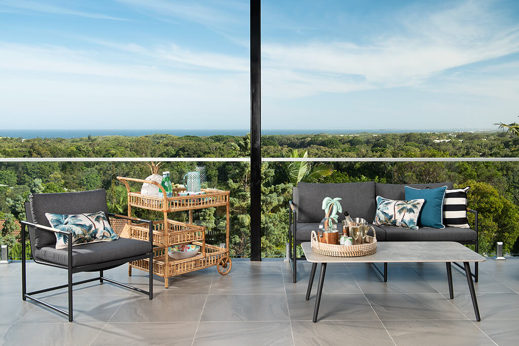 Image of the Balcony seat and drinks shot with view in background of Endeavour Prize Home 420 Yaroomba Sunshine Coast