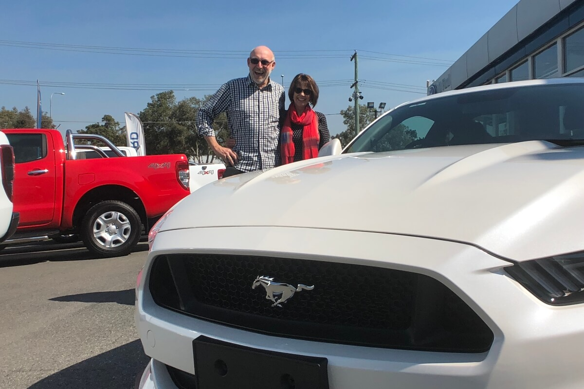 Winner Graham with his brand new Ford Mustang
