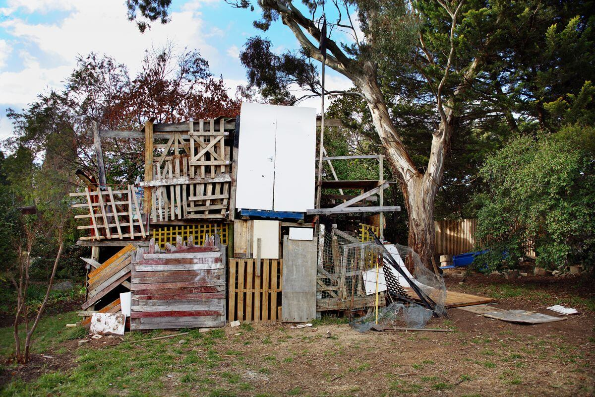 DIY cubby house made from junk