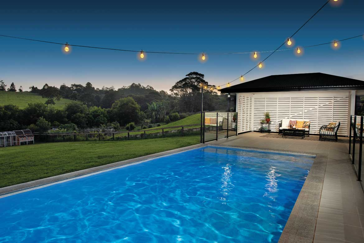 Home pool at dusk