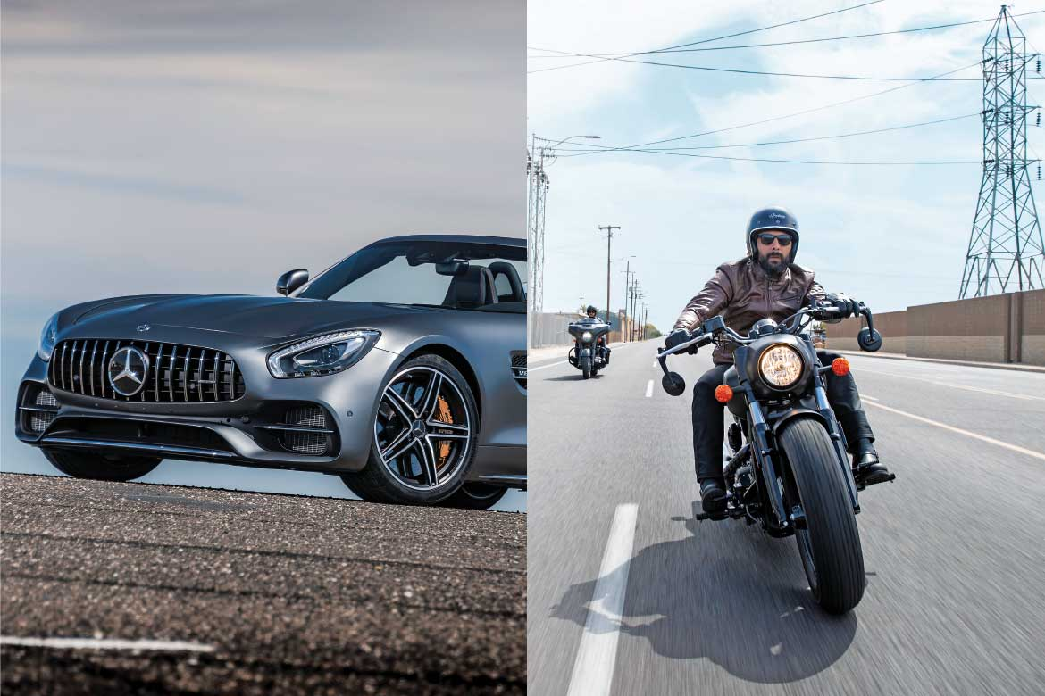 Mercedes-Amg Gt C Roadster and Indian Scout Motorcycles