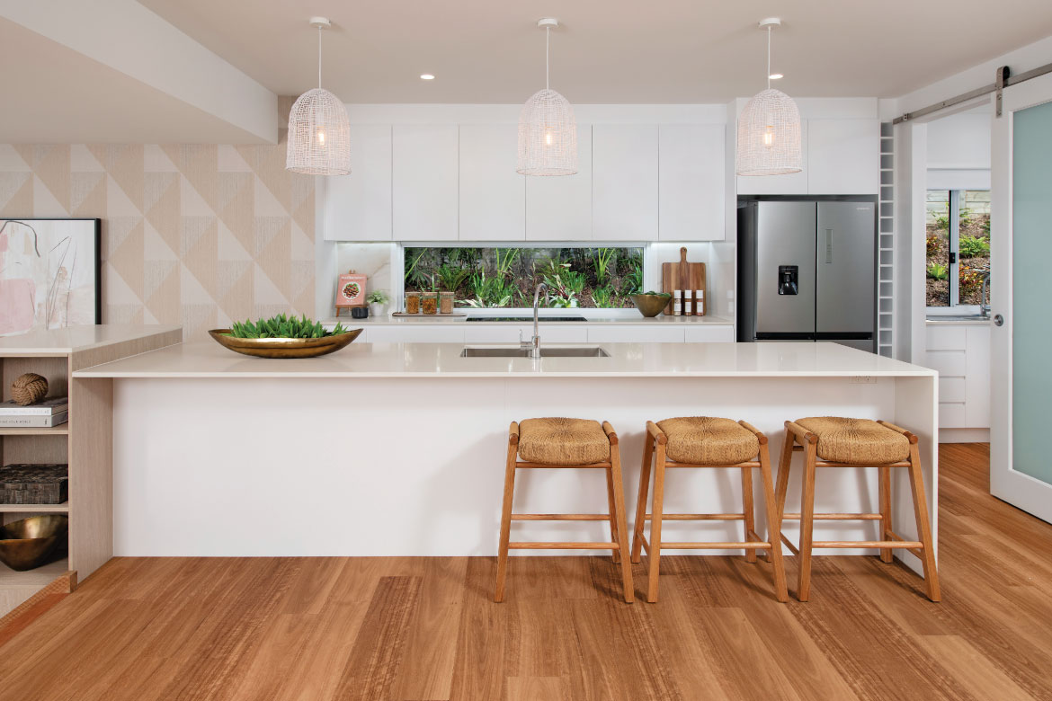 Spacious kitchen with large island bench